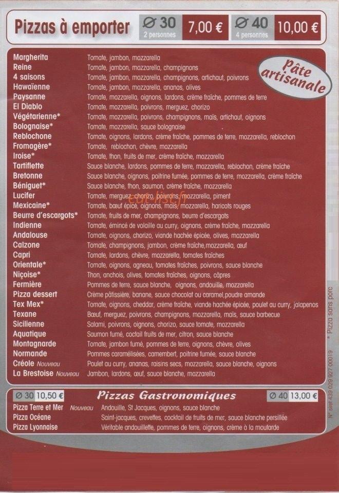 pizza et tradition a brest carte et