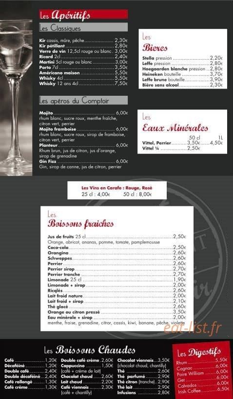 le cafe comptoir a sene carte menu et