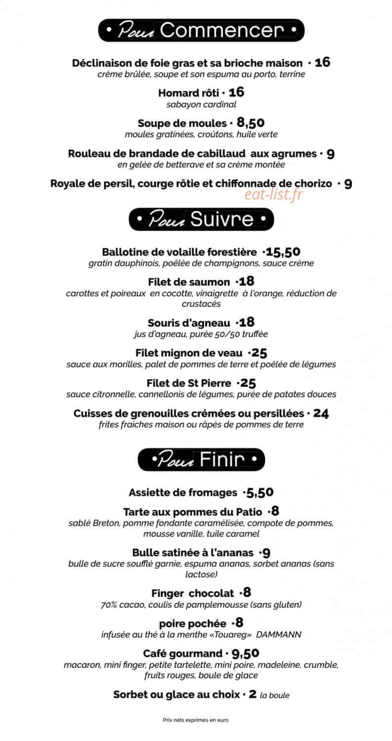 le patio a epinal carte menu et photos