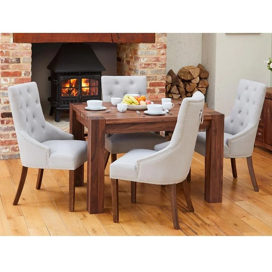 Walnut Small Dining Table With 4 Grey Accent Narrow Back Upholstered Walnut Dining Chairs