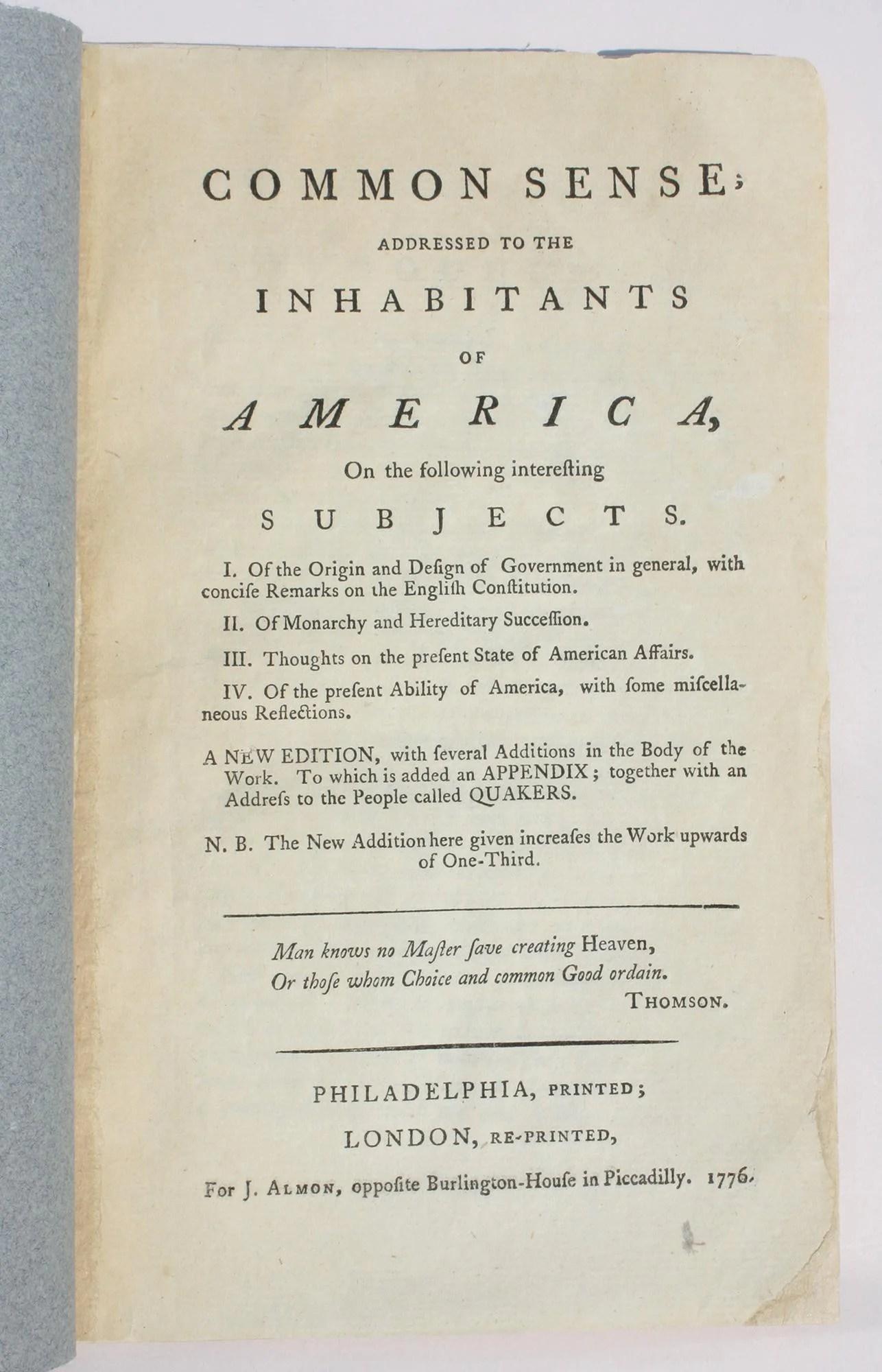 Paine Thomas Common Sense The First London Edition