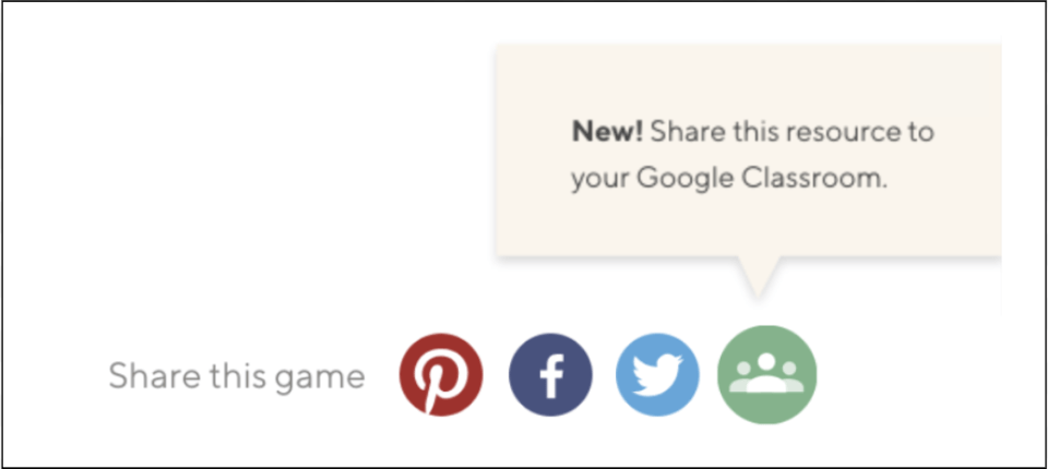 Google Classroom Share Button on Education.com