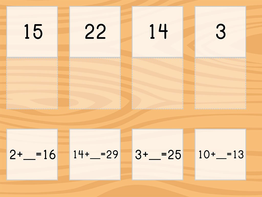 Match Addition Within 30 And Missing Addends