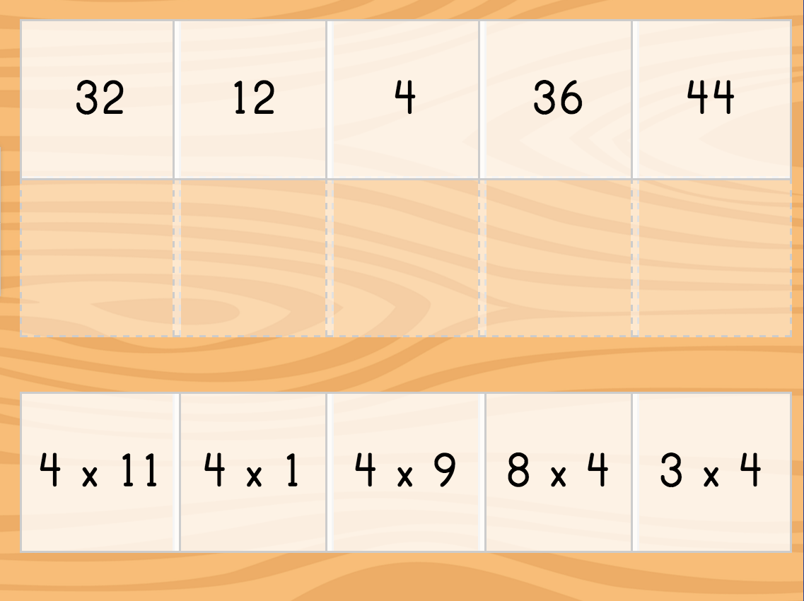 Multiply By 4 Matching Quiz