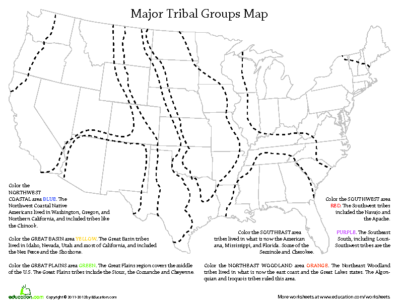 Tribes Map American Worksheet Native