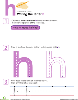 Writing The Letter H Worksheet Education Com