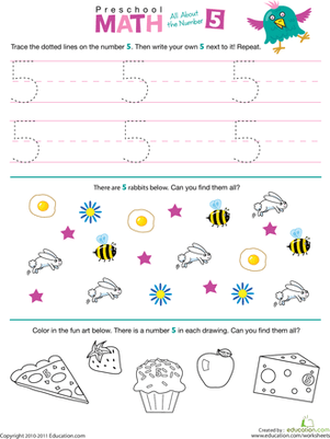 Preschool Math All About The Number 5 Worksheet Education Com