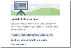Facebook email to photos & videos