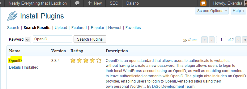 OpenIDing your WordPress blog with a plugin from DiSo Development Team