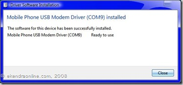 The driver software for Mobile Phone USB Modem Driver has been successful.