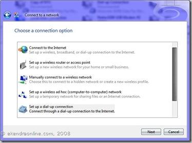 Choose a connection options, img© ekendraonline.com, 2008