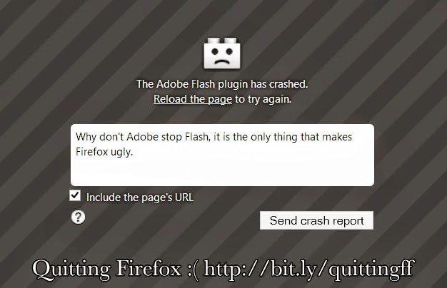 Adobe Flash plugin- the only thing that makes Firefox ugly