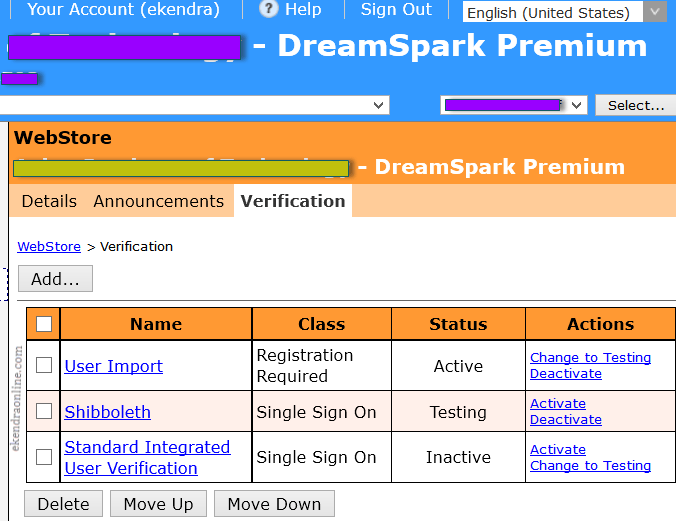 Screenshot from WebStore of DreamSpark Premium for Users verification SSO options