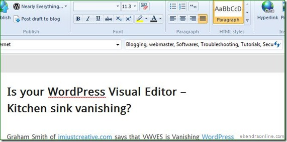 WordPress blog configured to be used in Windows Live Writer