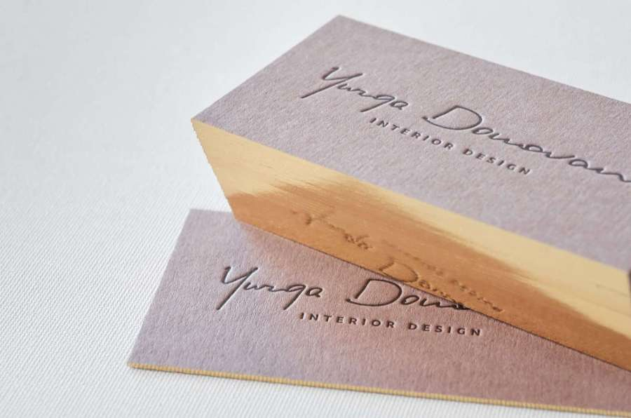 Brown business cards with single gilded edges   ELEGANTE PRESS Brown letterpress business card with single gilded edge online