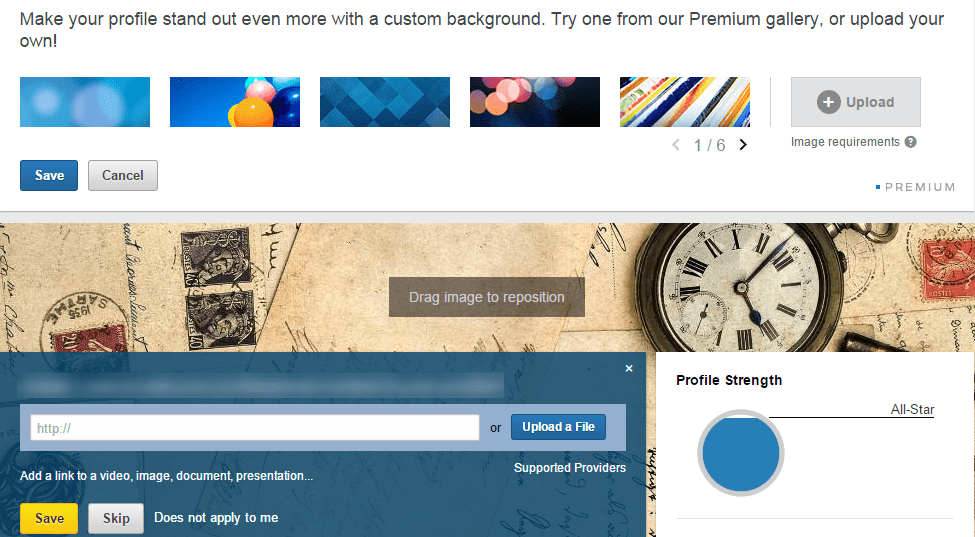 Custom background is a way to brand your LinkedIn profile