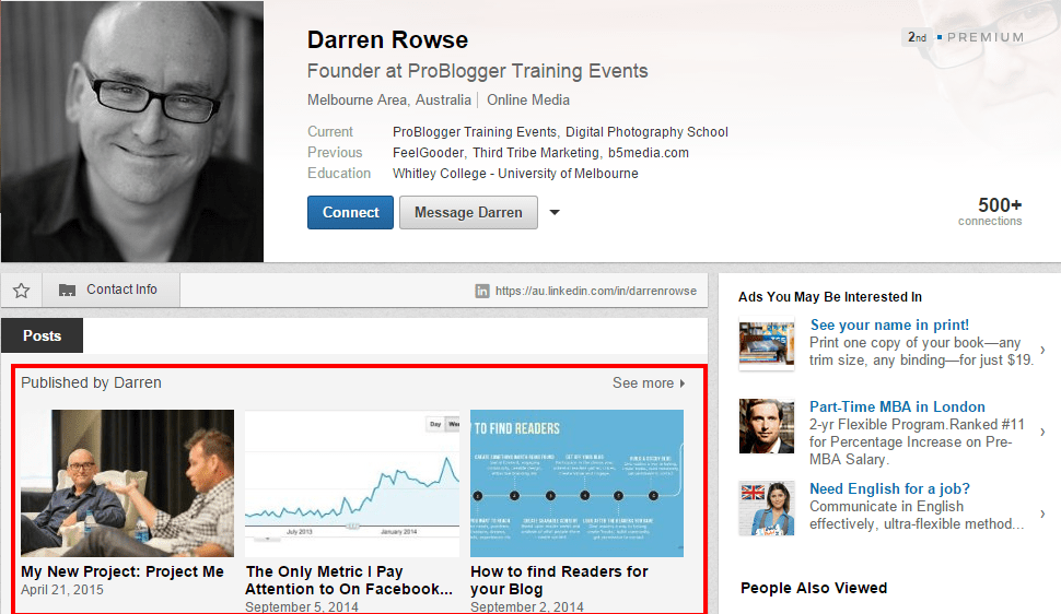LinkedIn's publishing feature