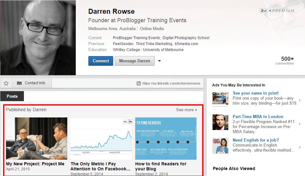 LinkedIn's publishing feature