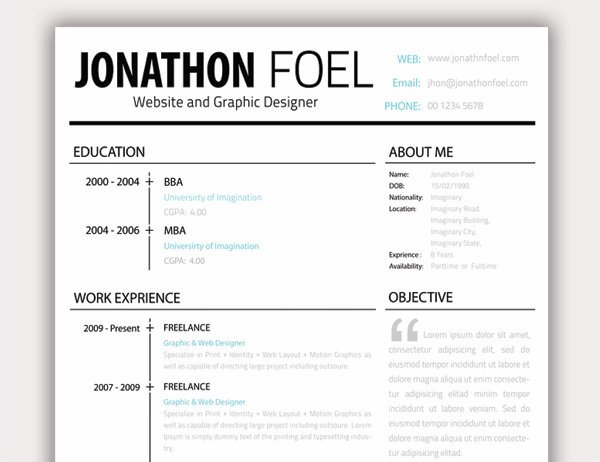 20 free resume design templates for web designers elegant themes