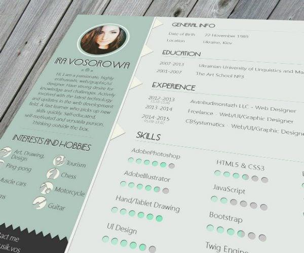 20 free resume design templates for web designers elegant