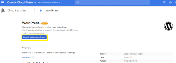 WordPress launch on Google Engine