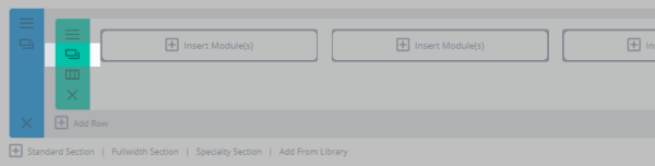 The Divi Builder with the row copy button highlighted