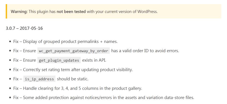 A plugin update changelog.