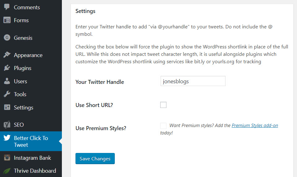 Better Click to Tweet Settings