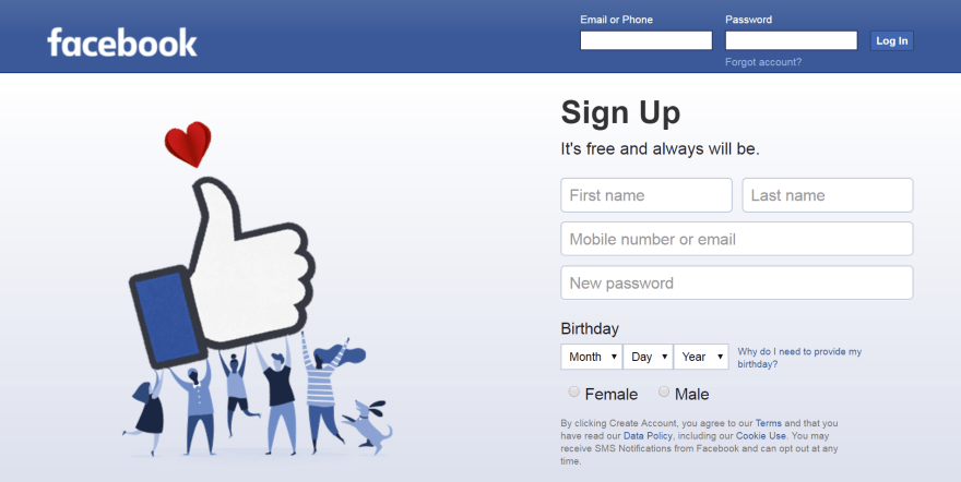 The Facebook home page.