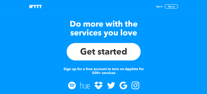 The IFTTT home page.