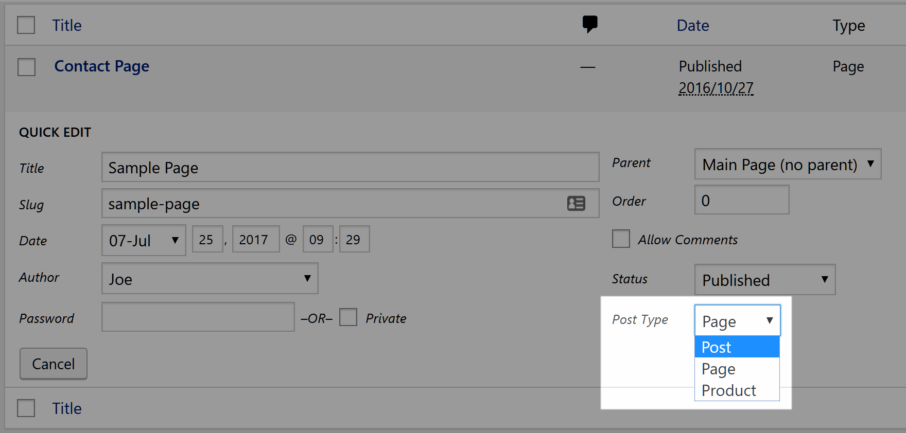 Change a post to a page with quick edit