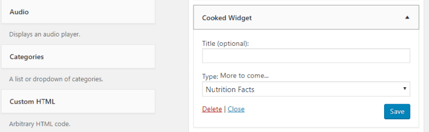 The Cooked plugin's widget.