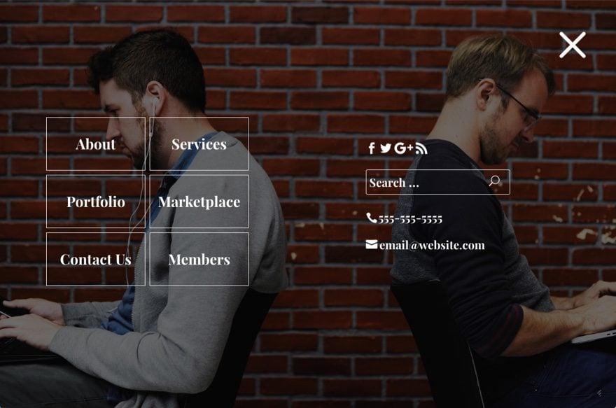 fullscreen menu