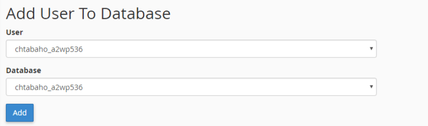 Adding an existing user to your new database.