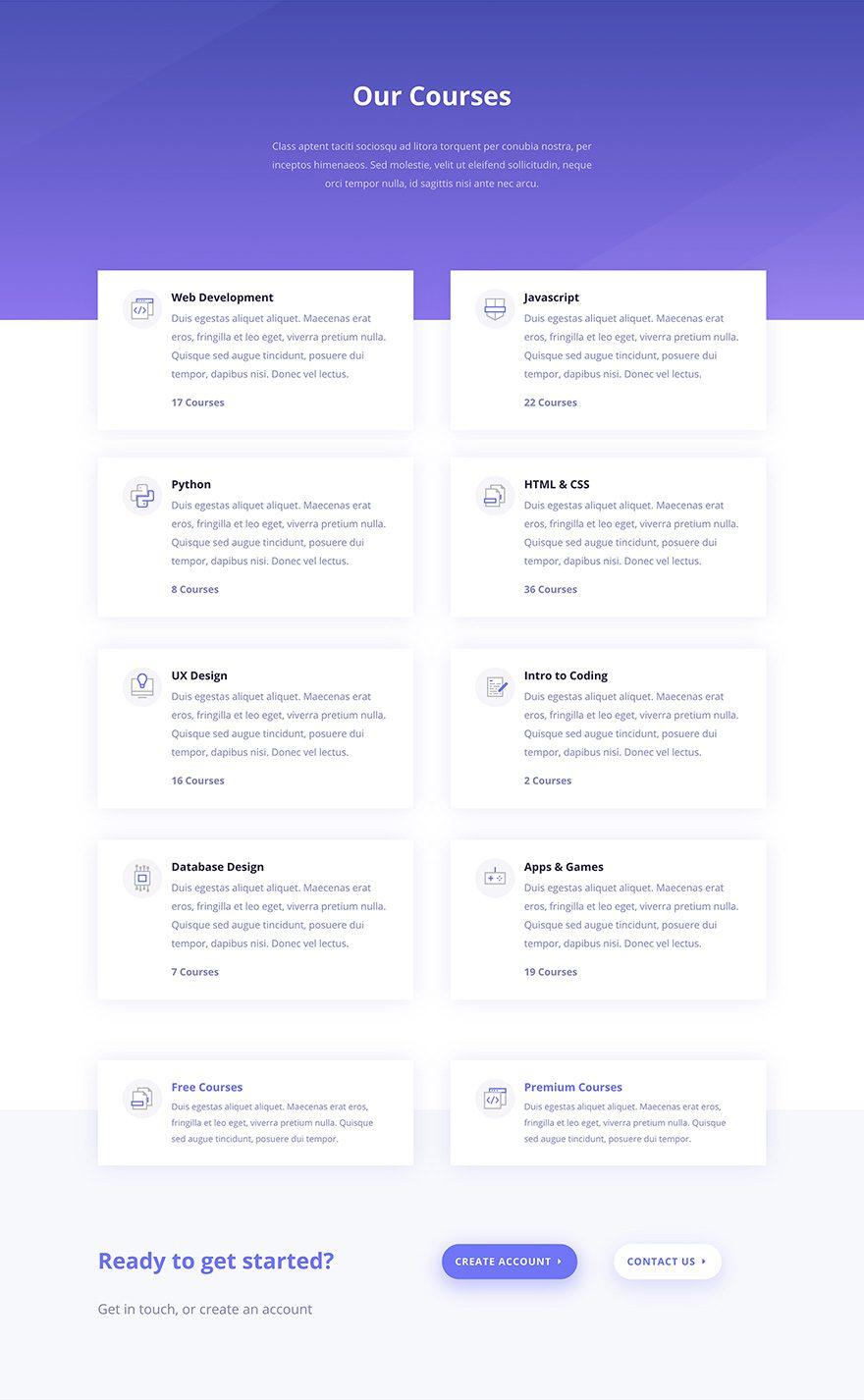 e-course courses layout