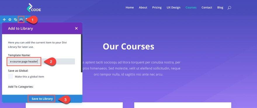 save course header