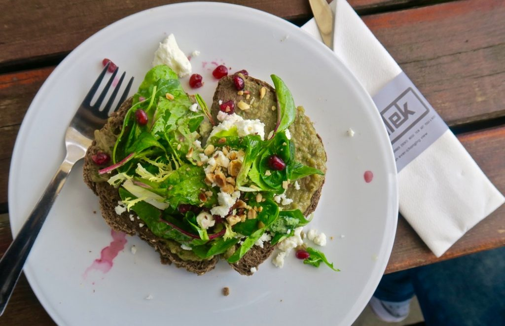 Pllek Beach Cafe, Amsterdam Noord open sandwich