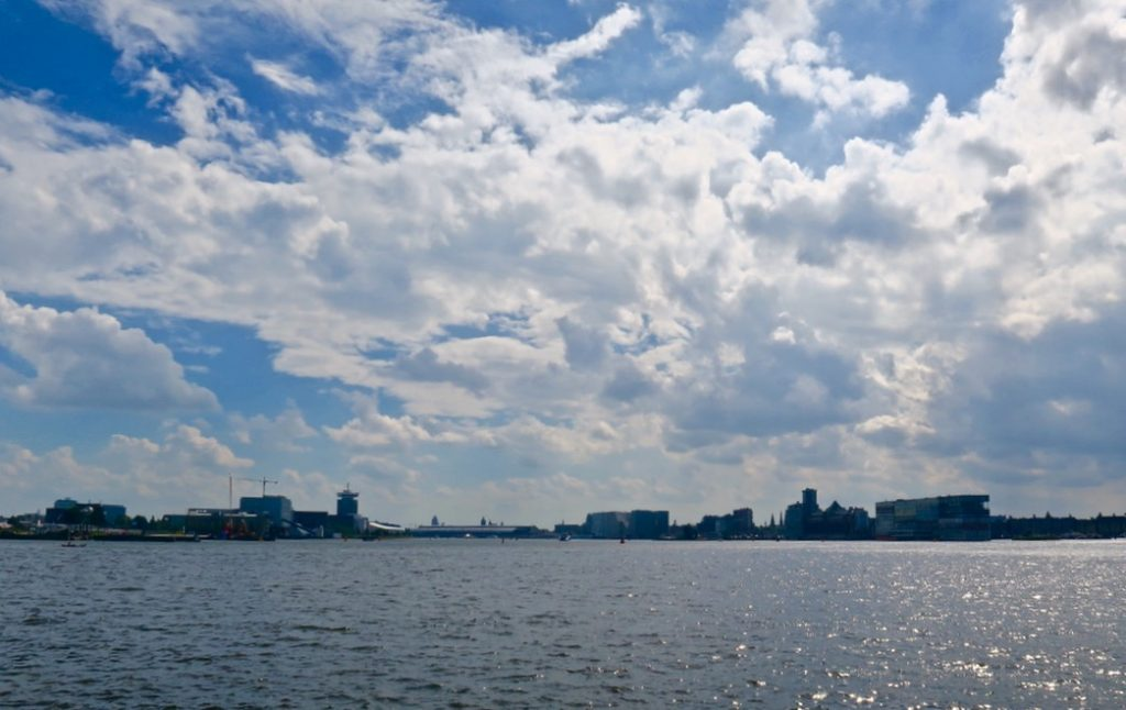 Pllek Beach Cafe, Amsterdam Noord city view