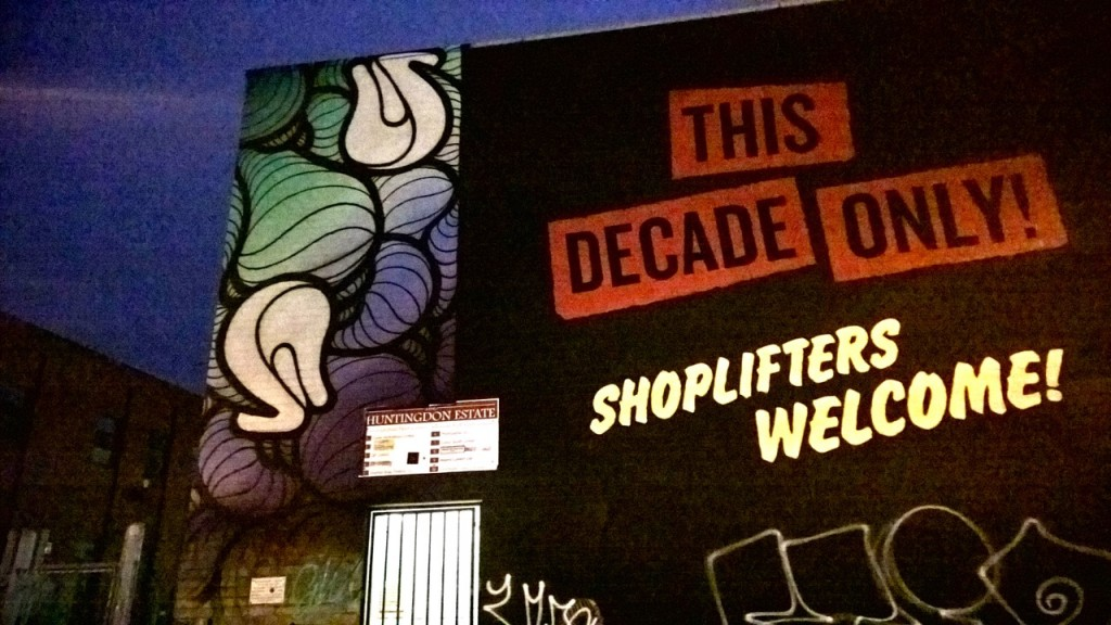 "Shepherd Fairey - ""Shoplifters welcome this decade only"" mural and Insa - Blue and purple heels"