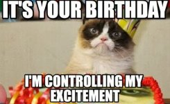 Its Your Birthday I Am Controlling My Excitement Funny Animal Image
