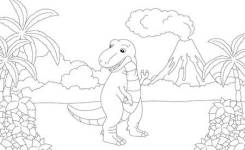 Funny Cute Tyrannosaurus On The Background Of A Prehistoric Nature Educational Game For Kids