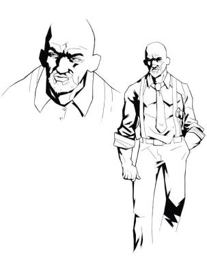 Sketch of Arthur Bishop, the protagonist of Nightcross