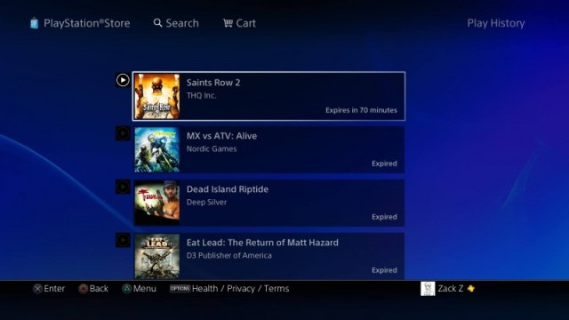 PS Now My Games list