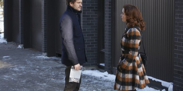"""HANNIBAL -- """"...and the Woman Clothed with the Sun"""" Episode 309 -- Pictured: (l-r) Hugh Dancy as Will Graham, Lara Jean Chorostecki as Freddie Lounds -- (Photo by: Ian Watson/NBC)"""