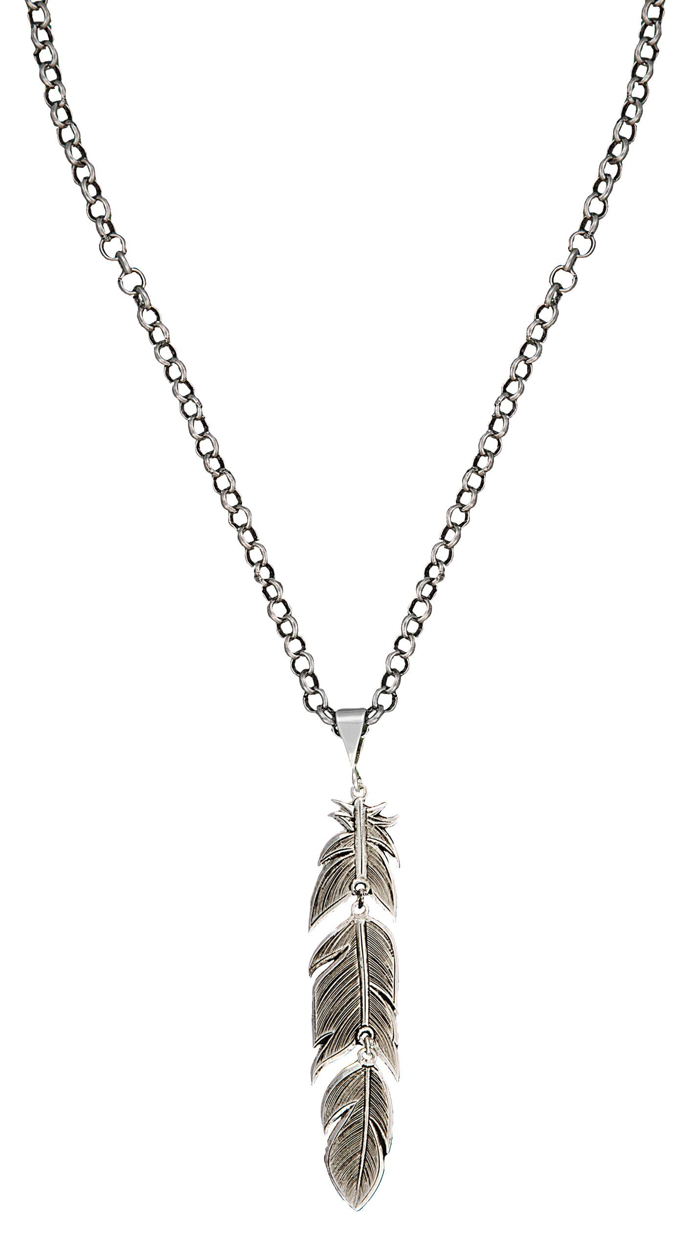 Montana Silversmiths Antiqued Silver Plume Feather Necklace