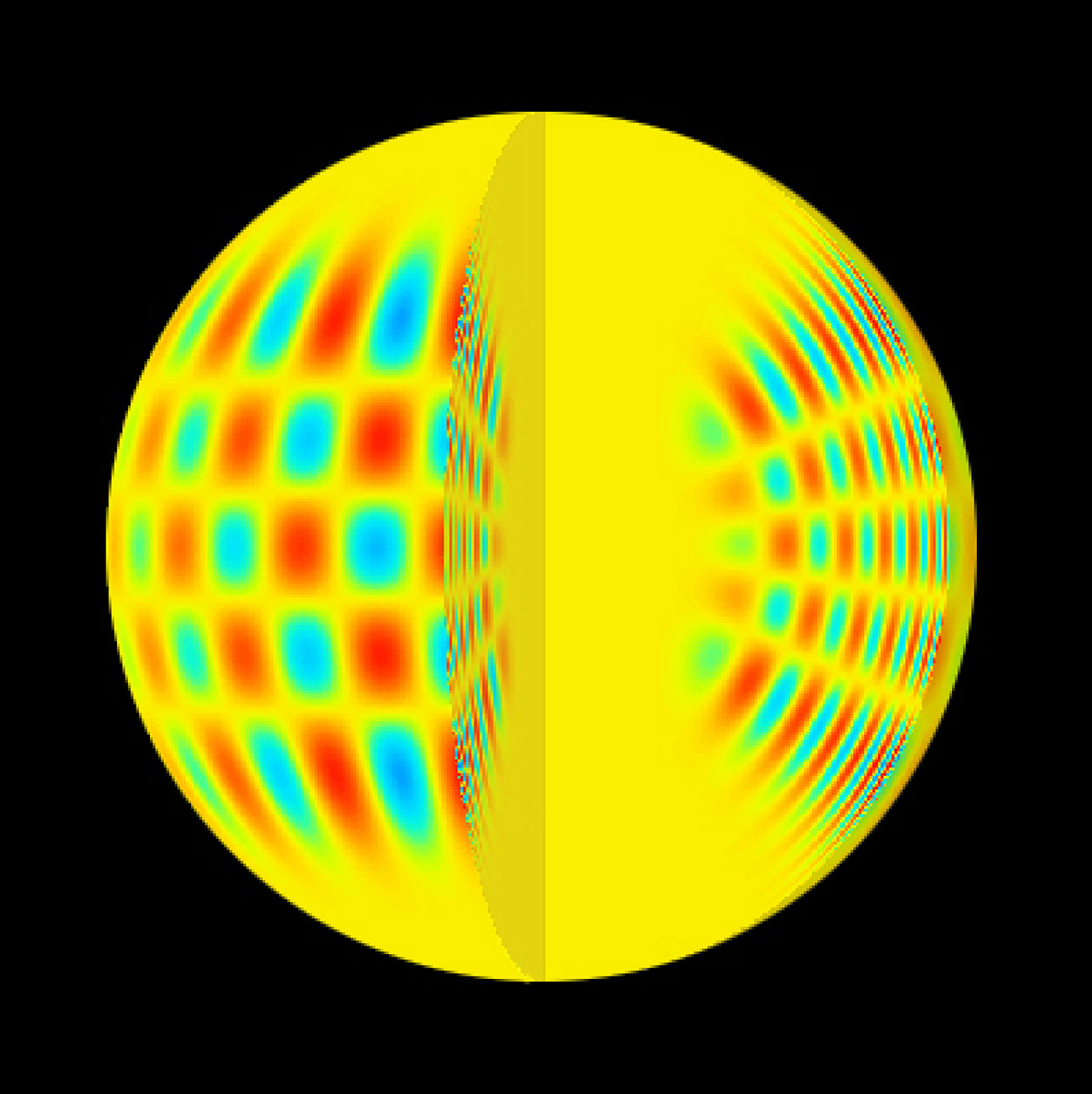 This image is a graphical representation of resonating acoustic waves in the interior of a solar-like star. Red and blue colours show element displacements in opposite directions.