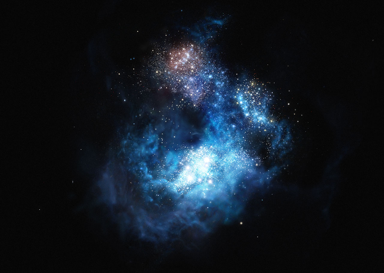 Rappresentazione artistica di CR7: la galassia più brillante dell'Universo primordiale