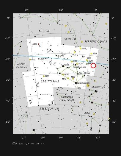 Terzan 5 kümesi (kırmızı çember) Yay takımyıldızı yönünde yer almaktadır (Telif: ESO/IAU and Sky & Telescope).