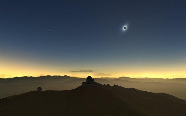 Ilustración del eclipse de 2019 visto desde La Silla