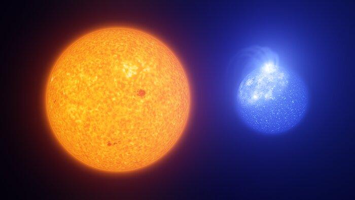Spots on the Sun vs spots on extreme horizontal branch stars (artist's impression)